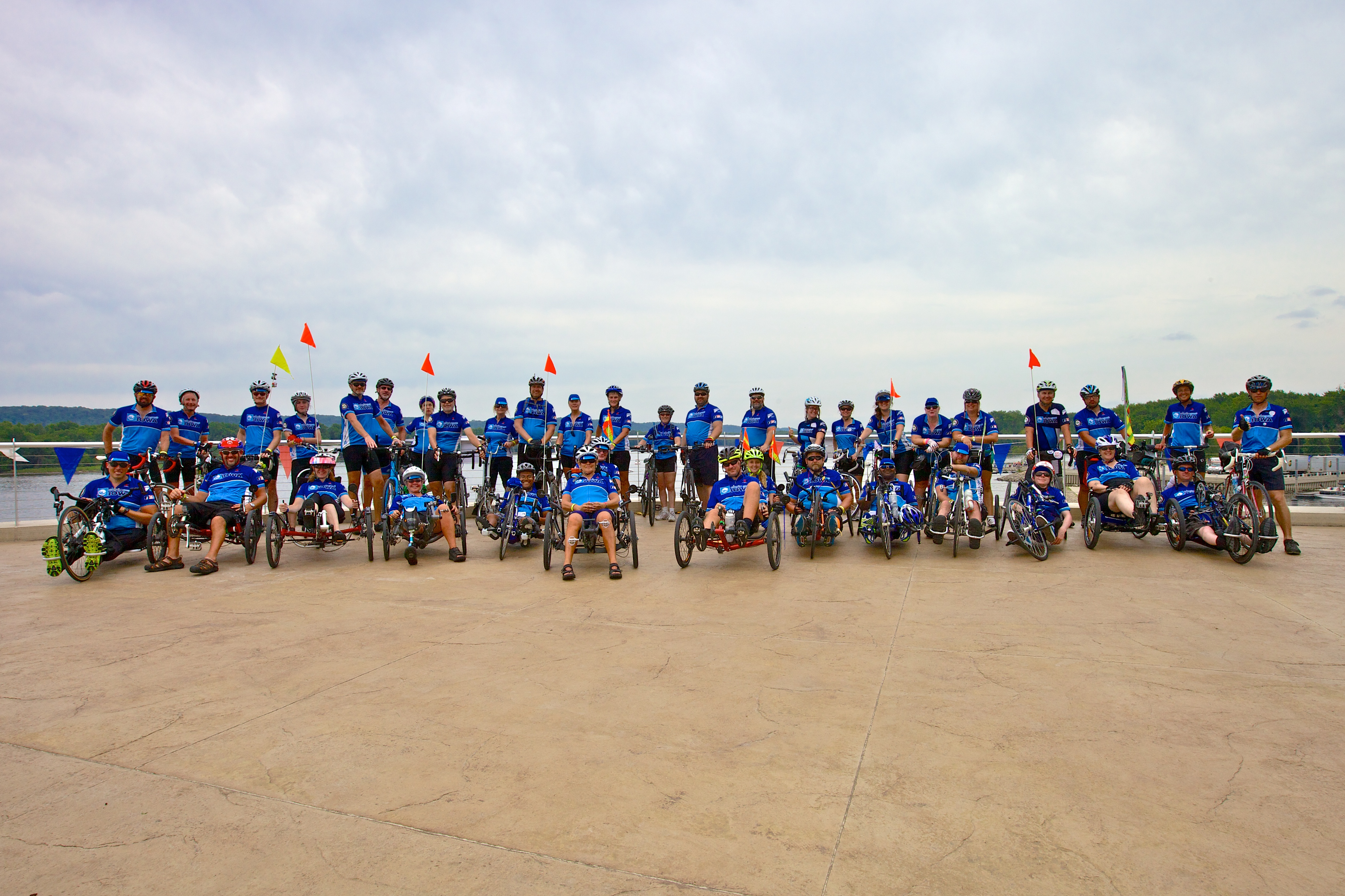 Photo of large group of cyclists